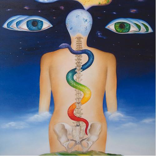 Bild eines Menschen von hinten mit Darstellung der Wirbelsäule